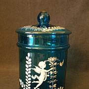 Hand Painted Royal Blue Glass Cigar Humidor w/Cherub or Putti Decoration