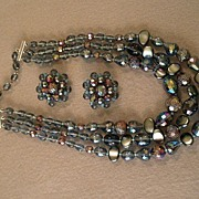 West Germany Beaded 3-Strand Necklace & Clip Earrings Demi Parure