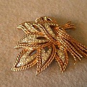 Panetta Gold & Silver Tone Layered Leaf Brooch w/Pave Diamond Rhinestones