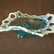 "Northwood Glass Blue Opalescent ""Shell and Wild Rose"" Footed Bowl"