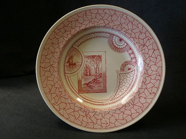 "Old Hall Company, England, Red Transferware ""Excelsior"" Pattern Soup Plate"