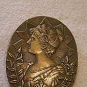 "SALE ""Josephine Bonaparte"" Relief Profile Image in Early Cast Bronze Belt Buckle"