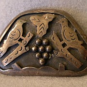 """Mexican Sterling Figural """"Birds & Grapes"""" Brooch/Pendant - Signed """"JS"""""""