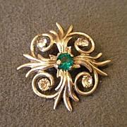 Castlecliff Sterling Silver Brooch w/Diamond & Emerald Rhinestones