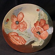 Hutschenreuther Porcelain Hand Painted & Artist Signed Plate w/California Poppy Decoration