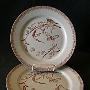 "Set of 2 - T & R Boote Aesthetic Movement Brown Transfer-ware ""Summer Time"" Patt"