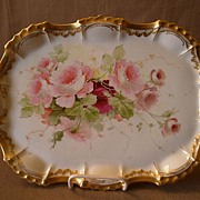Hand-Painted Porcelain Dresser/Serving Tray w/Tea Roses Motif