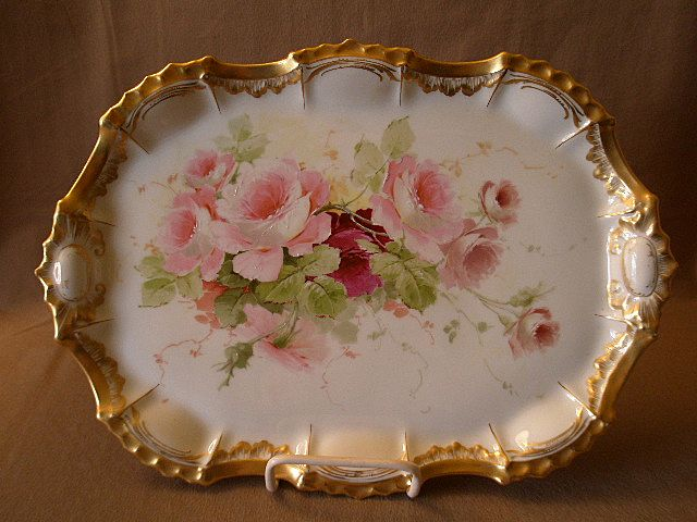 Hand-Painted Porcelain Dresser/Serving Tray w/Tea Roses Motif