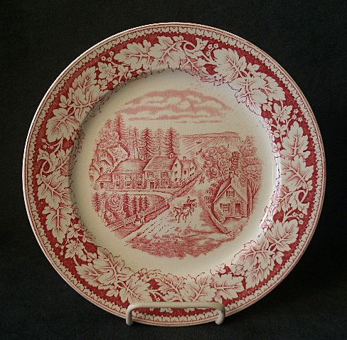 "Set of 4 Homer Laughlin ""Americana Series - Western Farmer's Home"" Luncheon Plates"