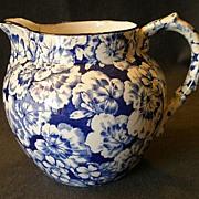 "REDUCED Buffalo Pottery ""Geranium"" Pattern Jug/Pitcher in Cobalt Blue"