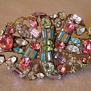 "SALE ""Staret"" Oval Gold-Plated Brooch Studded With Pastel & Clear Rhinestones"