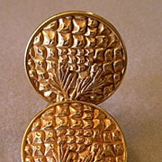 "SALE ""Dominique Aurientis"" Embossed Gold-Tone Clip Earrings"