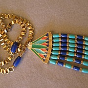 "SALE Hattie Carnegie ""Egyptian Revival"" Lotus Pendant Necklace"