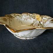 T & V Limoges Hand Painted Flower-Shaped Bowl w/Dandelion Floral Decoration