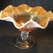 """Dugan/Diamond """"Peach  Opalescent Coin Spot"""" Carnival Glass Compote"""