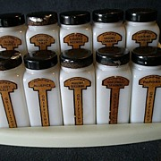 Griffiths' Milk Glass 10-Jar Spice Set in Original Stand