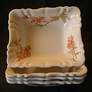 Set of 4 Theodore Haviland / A. French Co. Floral Rectangular Sauce Dishes, Circa 1892