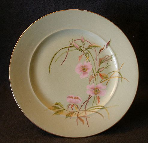 Early David or Charles Haviland H.P. Plate w/Wild Roses Motif