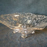 "Cambridge Etched Glass ""Rose Point"" Pattern Square 4-Toed Bowl"