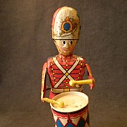 "SOLD Louis Marx Litho Wind-Up ""George The Drummer Boy"" Tin Toy"