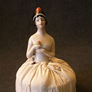 """Germany China Half-Doll """"1920's Flapper"""" Attached to Pincushion"""