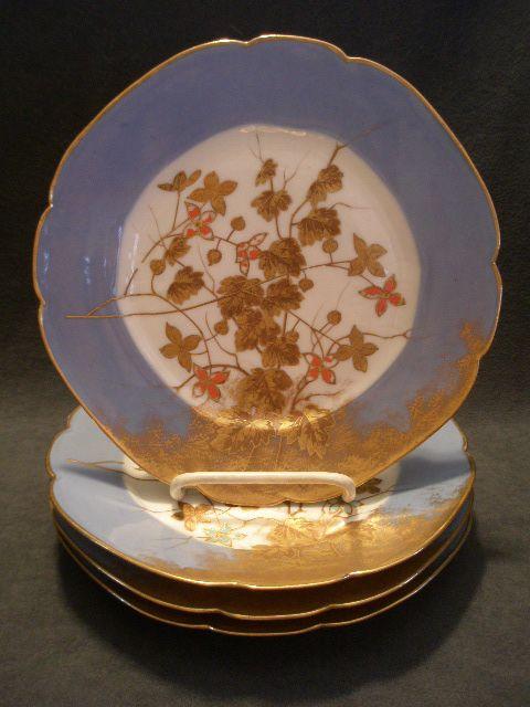 Set of 4 Jean Pouyat (JPL) Limoges Hand Painted Salad/Dessert Plates w/Encrusted Gold Floral Decoration