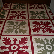 "SOLD Early American ""Applique"" Summer Quilt w/Oak Leaf & Acorn Decoration - Dated 18"