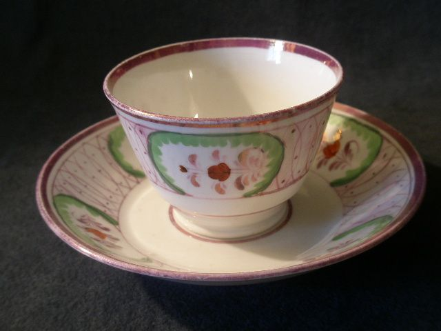 Early Pink Lustreware Handleless Cup & Saucer w/Floral Decoration