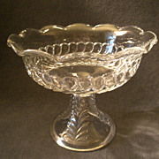 """Early American Pressed Glass """"Plume"""" Pattern Compote w/Scalloped Rim"""