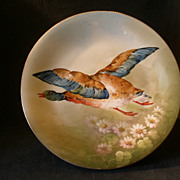 "Blakeman & Henderson Limoges Hand Painted ""Flying Mallard Drake""  Charger"