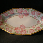 Prussia Celery/Relish Tray w/Large Pink Roses Transfer Decoration