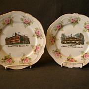Pair of Delavan & Delavan Lake, Wisconsin Souvenir Plates w/Transfer of Landmarks