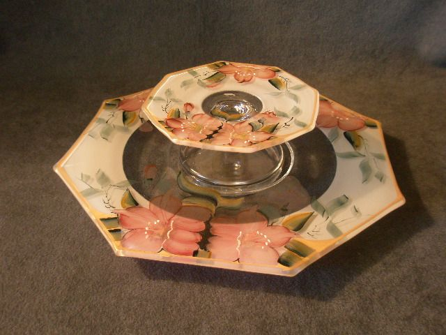 "Depression Era Clear Glass  Cheese & Crackers Server with Hand-Painted ""Azalea"" Floral Motif"