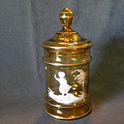 """Victorian Amber Glass """"Mary Gregory"""" Motif Covered Candy Jar"""