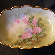 Julius H. Brauer Studio Hand-Painted Relish Dish w/Floral Motif