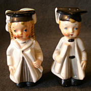 """SOLD George Lefton China """"Turn About Graduate"""" Boy & Girl S/P Shakers"""