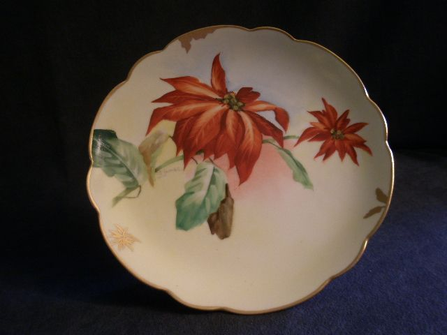 Pickard Studio Hand Painted Cabinet Plate w/Poinsettia Motif