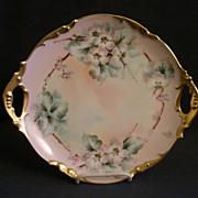 Jean Pouyat (JPL) Limoges Hand-Painted Serving Plate w/Apple Blossom Motif