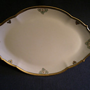 """Shamrock Pattern"" Hand Painted Porcelain Oval Serving Platter"