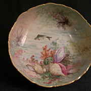 Hand Painted Footed China Bowl w/Ocean Seascape Motif