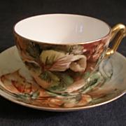 T & V Limoges Hand Painted Cup & Saucer w/Hazel Nuts & Leaves Motif