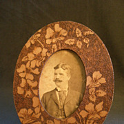 Arts & Crafts Era Pyrographic Oval Picture Frame w/Dogwood Floral Motif