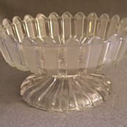 """EAPG - """"Frosted Ribbon"""" Pattern Open Compote on Low Standard"""