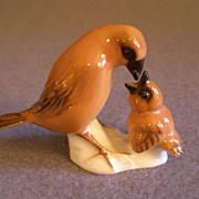 """Hutschenreuther Porcelain """"Mother Bird Feeding Chick"""" Figurine - K. Tutter"""
