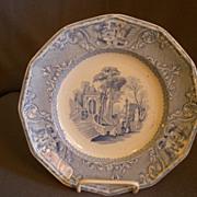 "Wood & Challinor Blue Transfer-ware ""Patras"" Pattern Ironstone Plate"