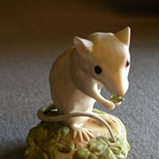 "SOLD Cybis Porcelain ""In Clover"" Deer Mouse Figurine"