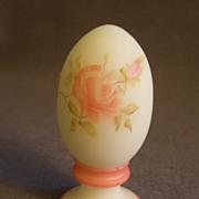 "Fenton ""Roses on Custard"" Egg on Pedestal Paperweight -  Signed C. Weihl"