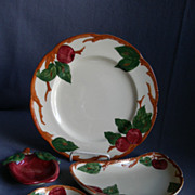 "Vintage Grouping Franciscan China ""Apple"" Pattern Luncheon, Crescent Salad, Coaster"