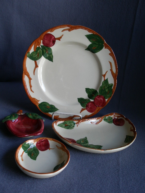 """Vintage Grouping Franciscan China """"Apple"""" Pattern Luncheon, Crescent Salad, Coaster & Ashtray"""