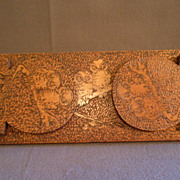 Arts & Crafts Era Pyrographic Folding Book Rack  w/Owls Motif